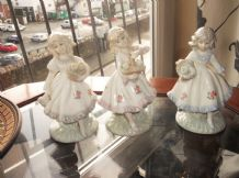 3 X ELEGANT GLAZED CHINA GIRL FIGURINES CARRYING BASKETS OF FLOWERS PASTELS 4.5""